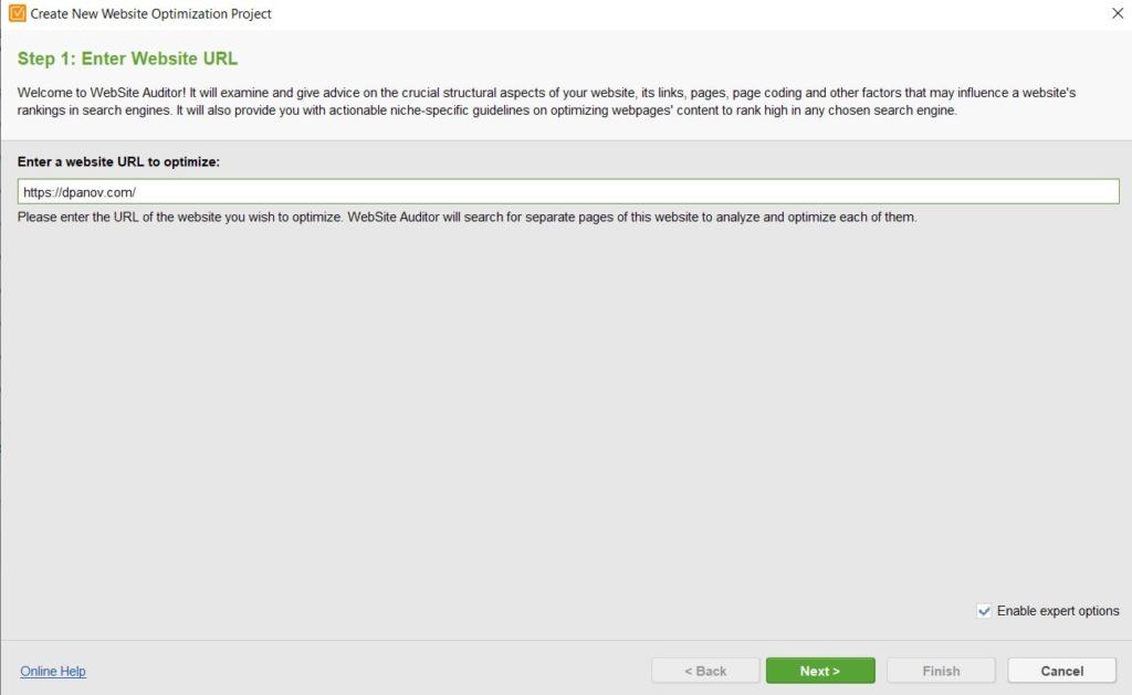 Как се въвежда уеб сайт за анализ